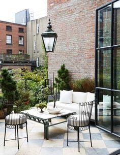 Nicole Franzen for Athena Calderone Outdoor Spaces, Outdoor Living, Outdoor Decor, Terrace Garden Design, Marble Columns, Patio Interior, Interior Design, Kitchen Interior, Kitchen Design