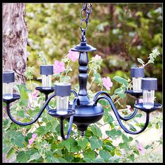 How to make a solar powered chandelier for out of doors.
