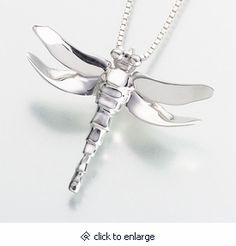 Dragonfly Keepsake Memorial Pendant - Silver or Gold Cremation Jewelry Urn