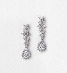 fleur white gold drop earrings