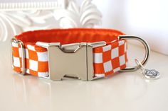 Orange White Checkered Dog Collar With Orange Color Block Lining - Tennessee Volunteers Fan