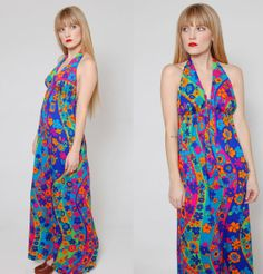 Vintage 70s PSYCHEDELIC Maxi Dress NEON Floral Sun Dress by LotusvintageNY