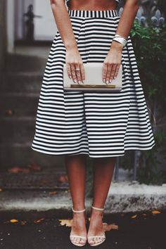 striped full midi skirt with cropped top