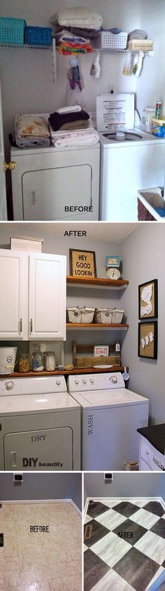 Can use the shelf behind ours for storage like that! Farmhouse Modern Laundry Room Reveal.