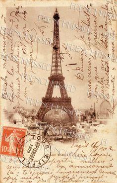 parisian postage pictures | ... Antique 1902 PARIS Souvenir postcard Orange Postage Stamp DIGITAL Scan