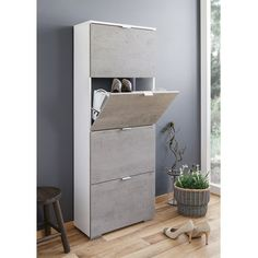 Melone Shoe Cabinet Tall In White And Concrete Effect Fronts