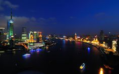huangpu river in shanghai at night World Wallpaper, City Wallpaper, Travel Wallpaper, Widescreen Wallpaper, Desktop Wallpapers, Shanghai Night, Night Skyline, Header Pictures, World Images