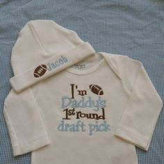 Newborn Baby Boy Football Onesie and Hat Set by mimilous on Etsy