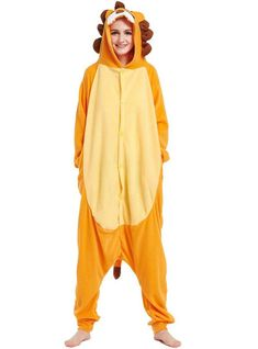 a17d45bc0c Animal Lion Onesie Funny Orange Pajama Men Women