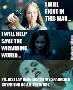 "lord of the rings vs harry potter vs twilight...  Eowyn wins in my book!  ""I am no man!"" and sticks her sword in the Witch Kings face... Epic!"