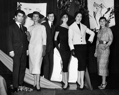 Karl Lagerfeld and Yves Saint Laurent, winners of the International Woolmark Prize for fashion with models, 1954