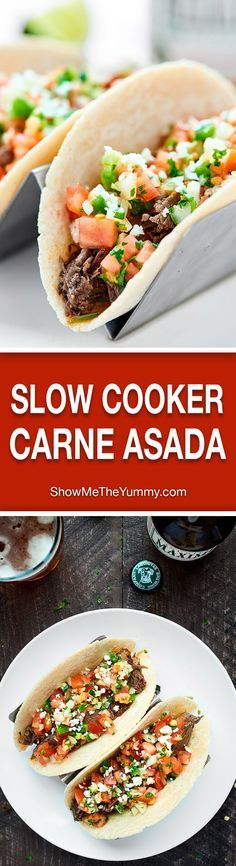 Everything you love about carne asada made easier with a crockpot! This Slow Cooker Carne Asada is so juicy, tender, and topped w/ the best pico de gallo! showmetheyummy.com #carneasada #slowcooker