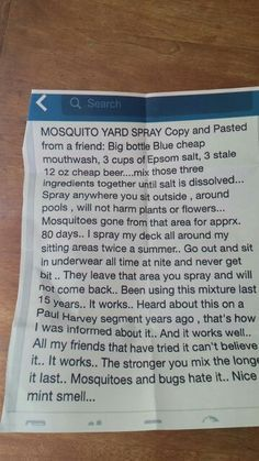 Keep mosquitoes away this summer with this DIY mosquito spray made of mouthwash, beer, and Epsom salt. Someone who tried this said this actually works well. Keep some in a spritz bottle under a chair or table for reapplications. Home Made Mosquito Repellent, Mosquito Yard Spray, Wasp Repellent, Bug Spray Recipe, Keeping Mosquitos Away, Insecticide, Cheap Beer, Big Bottle, Simple Life Hacks