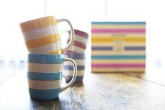 Cornishware pastel mugs Coffee Love, Coffee Cups, Tea Cups, Cornishware, Mad Hatter Tea, Mad Hatters, English Pottery, Simple Colors, Mug Cup