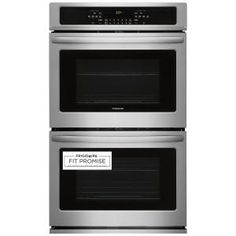 The Frigidaire 30 in. Electric Double Wall Oven features two large cu. ovens so you have more room to cook multiple items at once. The Ready-Select Control panel makes it easy to set cooking temperatures Cleaning Oven Racks, Electric Wall Oven, Frigidaire, Stainless Steel Oven, Large Oven, Wall Ovens, Kitchen Ideas, Kitchen Designs, Kitchen Updates