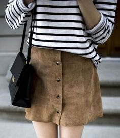 How to wear a suede mini skirt this Spring.