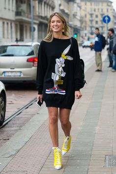 bunny hop. #HelenaBordon in Moschino in Milan.