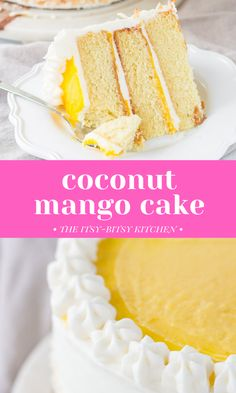 Coconut mango cake! This delicious from scratch dessert features soft coconut cake layers, homemade mango curd filling, and lots of creamy coconut buttercream frosting. It's a delicious tropical twist on regular coconut cake! This recipe is perfect if you're craving a tropical vacation but can't get away right now! Coconut Cake From Scratch, Dessert From Scratch, Kinds Of Desserts, Easy Desserts, Delicious Desserts, Coconut Buttercream, Buttercream Frosting, Mango Curd, Cake Recipes