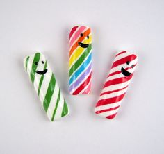 Candy magnets  cute candy sticks with smiling by lillybugboutique, $10.50