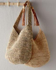 Mar Y Sol Augusta shoulder bag at Garnet Hill . Mar Y Sol Augusta shoulder bag at Garnet Hill . Crochet Market Bag, Crochet Tote, Crochet Handbags, Knit Crochet, Italian Leather Handbags, Leather Tassel, Knitted Bags, Handmade Bags, Purses And Bags