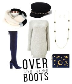 """""""Go Over"""" by levcollection on Polyvore featuring moda, Miss Selfridge, CHARLES & KEITH, River Island, Boots, necklace, scarf, longnecklace y OverTheKneeBoots"""