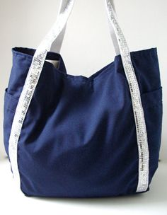 Large Beach Bag - Linen Sequin Tote Bag - Nautical Blue and Silver Sequins by IndependentReign $44.00