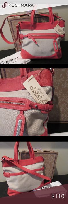 """Brighten Dorothy H32402 Handbag NWT NWT Brighton """"Dorothy"""" Shoulder Bag.  This stunning bag is made of natural Italian canvas with orange leather trim. The exterior has a large open pocket on back, zip pocket in front, Brighton signature heart, and magnetic closure. The inside boasts beautiful floral lining with two zip pockets, two open multi-function pockets and a key fob. Dust bag and box included.   Handles and shoulder strap. Please contact me with any questions.  Thanks for looking…"""