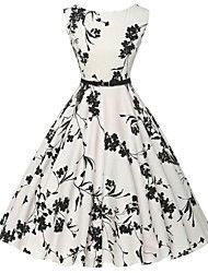 Mulheres Bainha / Rodado Vestido,Casual Vintage / Simples Floral Decote Redondo Altura dos Joelhos Sem Manga Branco AlgodãoTodas as – BRL R$ 72,35