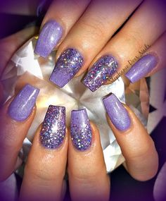 Lavender glitter acrylic nails