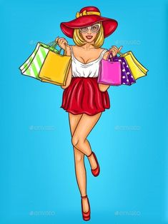 Buy Pop Art Illustration of a Young Girl Shopping by vectorpocket on GraphicRiver. Vector pop art illustration of a young sexy happy girl holding shopping bags. Pop art advertising poster for the sale. Illustration Pop Art, Illustrations, Vector Pop, Retro Vector, Pin Up, Pop Art Women, Girl Background, Retro Background, Pop Art Girl