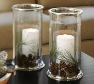 Silver Rim Glass Hurricane with spruce clippings, pottery barn (I am going to try a copycat version)