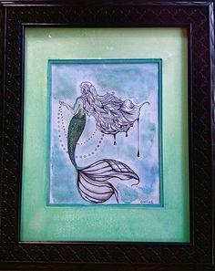 original art by gloria e. mermaid. cool colors. water color. pen.