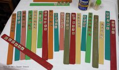 The calendar says spring…it's a little early to plant where I live but the perfect time to make a bouquet of plant markers using shutter slats & scrabble tiles… Paint Stir Sticks, Painted Sticks, Plant Markers, Garden Markers, Wooden Garden, Wooden Diy, Garden Junk, Planting Tulips, Garden Labels