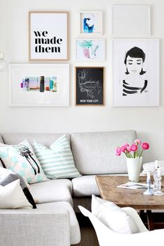 Wall art idea: match frames to bring lots of different pieces together. Living Room Inspiration, Home Decor Inspiration, Home Living Room, Living Spaces, Decor Interior Design, Interior Decorating, Cool Wall Art, Creation Deco, Home And Deco