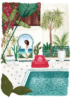 Original gouache painting, girl in Moroccan riad, plants, pool, Arabic style, seaside, cute, colorful by FantomFifiArt on Etsy