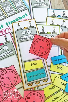 In our recently listed Math Pack 28 we provide 5 fun and engaging activities for little learners to practice telling time on a digital clock and to become familiar with telling time to the half… Telling Time Activities, Teaching Time, Teaching Math, Teaching Literature, Teaching Spanish, Fun Math, Math Games, Math Activities, Kids Math