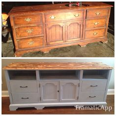 Thrifted Home Decor Furniture Makeover Diy Dresser, Redo Furniture, Refurbished Furniture, Furniture Decor, Furniture Makeover Diy, Refinishing Furniture, Furniture Rehab, Dresser Tv Stand, Home Decor Furniture