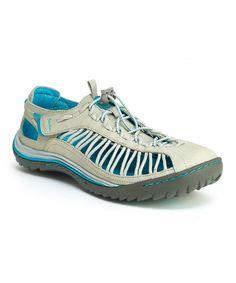 Love this Jambu Light Gray & Aqua Blue So Cal Leather Sneaker by Jambu on #zulily! #zulilyfinds