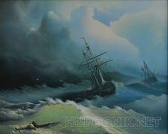 """Свободная копия картины И.К. Айвазовского """"Корабли в бушующем море"""""""