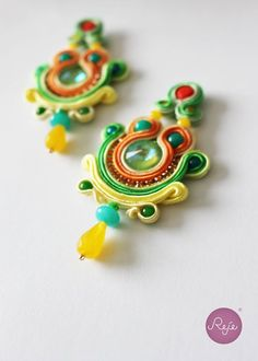 Soutache jewelry, soutache earrings, chandelier earrings, handmade in Italy https://www.etsy.com/it/shop/Rejesoutache?ref=hdr_shop_menu FACEBOOK: https://www.facebook.com/rejegioielliinsoutache/