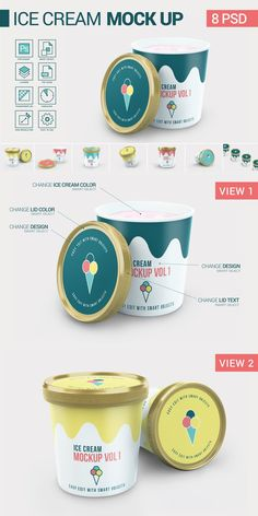 Ice Cream Package Mock-Up with 8 different views. Show your Designs with this Ice Crem mockup scenes. Use the generated images of the ice cream box in your Salad Packaging, Yogurt Packaging, Ice Cream Packaging, Dairy Packaging, Ice Cream Logo, Ice Cream Brands, Glossier Packaging, Ice Cream Business, Ice Cream Design