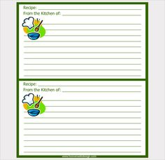 Cards Template  Free Printable Recipe Card Template For Word