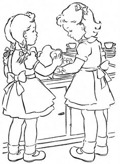 H is for helpful D is for dishes W is for washing Free Kids Coloring Pages, Coloring Pages To Print, Coloring Book Pages, Coloring Pages For Kids, Coloring Sheets, Sue Sunbonnet, Vintage Coloring Books, Colored Pencil Techniques, Outline Drawings