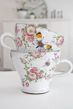 Rose and butterfly teacups