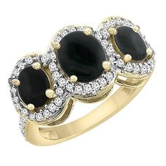 10K Yellow Gold Natural Black Onyx 3-Stone Ring Oval Diamond Accent, sizes 5 - 10 >>> Quickly view this special  product, click the image   Promise Rings Jewelry