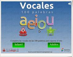 """""""Vocales"""" es un juego de Vedoque en el que completar 100 palabras del vocabulario básico con las vocales que les faltan. Buen medio para practicar las habilidades lectoescritoras y el conocimiento del vocabulario."""
