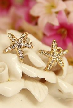 Starfish Pave Stud Earrings  ♥