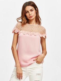 SheIn offers Cutout Yoke Lace Trim Top & more to fit your fashionable needs. Dots Fashion, Fashion Women, Fashion Trends, Streetwear, Plain Shirts, Top Pattern, Ladies Dress Design, Casual Tops, Blouse Designs
