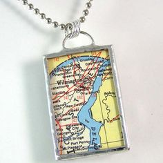 Wilmington Map Pendant by XOHandworks.com $20
