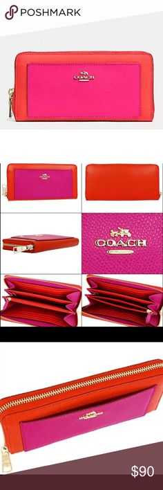 "Coach F52756 Accordion wallet 🌺 NWOT COACH ACCORDION ZIP WALLET IN BICOLOR CROSSGRAIN LEATHER NO TAGS. ❌NO TRADES❌ Style: F52756  Color: CARDINAL/PINK RUBY Original Price $250 + Tax Gold tone hardware  Inside credit card and multifunction pockets|   Full-length bill compartments  Zip coin pocket  Zip-around closure  7 3/4"" (L) x 4"" (H) Coach Bags Wallets"